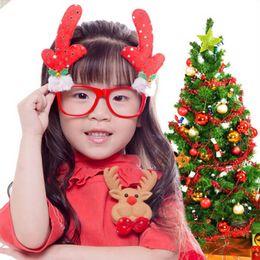 Wholesale Christmas Novelty Fabric - Christmas Glasses Frame Xmas Festival Decoration Photobooth Props Novelty Fancy Dress Snowman Antler Bear High Quality LZ0067