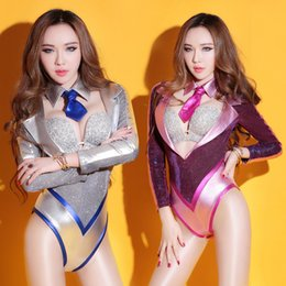 Wholesale Flashing Party Wear - Flash V-collar sexy bodysuit Female Teams Jazz dance costumes personality jumpsuit catsuit DJ singer party show stage wear group performance