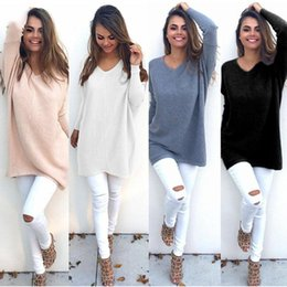 Wholesale Plus Size Dresses Knitted - Fashion Autumn Winter Dress Womens V-Neck Loose Knitted Oversized Baggy Sweater Jumper Tops Dress Outwear Plus Size S-2XL Vestidos