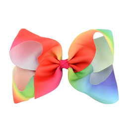 Wholesale Rubber Band Hair Designs - Dazzle Rainbow Large Kids Girl Grosgrain Ribbon Bow Clips Rainbow New Design Children Hair Accessories Summer style