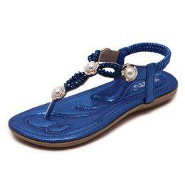 Wholesale Nice Free Shoes - Lady thong sandal free shipping summer casual flat sandals nice beading blue black outdoor women toepost shoes YonDream-217