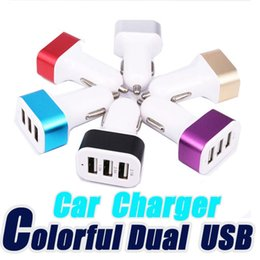 Wholesale Triple Usb Ports Charger - For iPhone 6s Car Charger Traver Adapter Car Plug Hot Selling Triple 3 USB Ports Car Charger 100pcs DHL Without Package