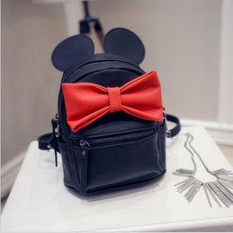 Wholesale Big Ears Bag - Hug Me Woman Girls Big Bow PU Leather Backpack 2016 New Korean Cute Cartoon Mickey Design Backpack Fashion Bow Girls Bags with Ear