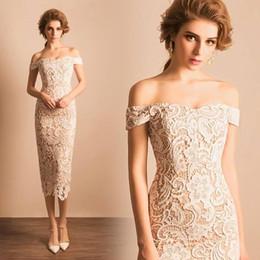 Wholesale Slim Lace Gowns - 2017 Elegant Lace Tea Length Wedding Dresses Slim Fitted Off Shoulder Boho Spring New Bridal Gowns