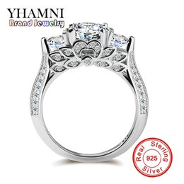 Wholesale Pave Flower - YHAMNI Genuine Pure Silver Wedding Rings For Women Unique Flower Shape Set Sona CZ Diamond Engagement Rings Fine Jewelry R066