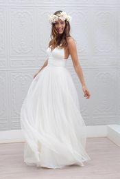 Wholesale Garden Irises - 2016 Tulle Beach Wedding Dresses Cutaway Sides Deep V Neck Cheaper Sexy Iris Brldal Gowns Backless