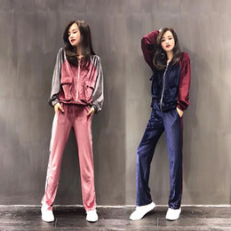 Wholesale pink twinset - 2017 Women's autumn new casual sports long sleeve color block loose sweatshirt cardigan and long pants velvet tracksuit sports twinset