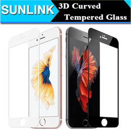 Wholesale 3d Fingerprint - 3D Curved Full Front Screen Coverage Tempered Glass For iPhone 7 6 6S Plus Screen Protector Film HD Anti-Fingerprint