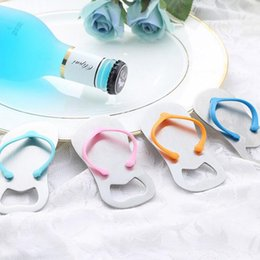Wholesale Beach Bottles - Beach Flip Flops Bottle Opener Corkscrew Cute Slippers Beer Bottle Openers Bridal Shower Wedding Favors OOA3335