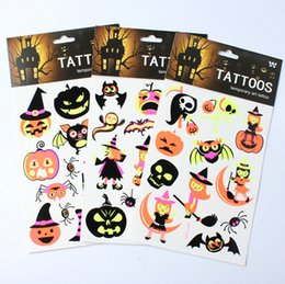 Wholesale paper glues - Halloween decoration luminous tattoo stickers tattoo wholesale mixed wholesale imported glue fluorescent light luminous