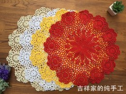 Wholesale Round Dinning Tables - Wholesale- 50cm round table cover with flower for wedding decor cotton crochet lace doilies as dinning table decor place mat coaster doily