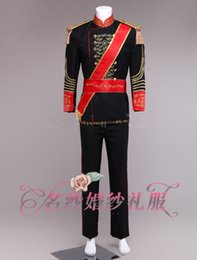 Wholesale Vintage Carnival - Free shipping mens black white medieval suit vintage stage performance embroidery golden general  william prince costume