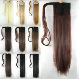"""Wholesale Ponytail Extensions Ribbon - 1PC 24"""" Synthetic Long Wowen Straight Clip in Ponytail Ribbon Tail Hair Extension hairpiece my little Ponytails"""