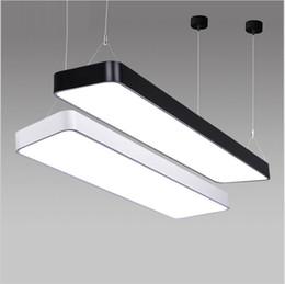 Wholesale led body lights wholesale - Rectangle led pendant light Aluminum Hanging Lighting Fixture Suspended For Office Study room Black Silver White Body AC85-265V