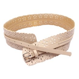 Wholesale Wholesale Apparel For Women - Wholesale-Amazing Womens Fashion PU Leather Lady Hollow Flower Waist Belt Waistband for Women Apparel Accessories