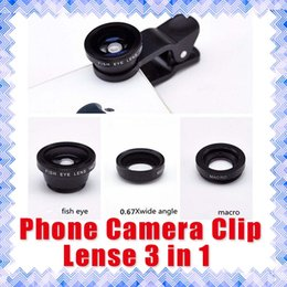 Wholesale Iphone External Camera Lens - Universal 3 in1 Fish Eye+ Wide Angle + Macro Camera External Lens Clip-on Lens For iPhone Android phones 01