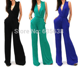 Wholesale Sexy Jumpsuit Cocktail - Wholesale- New Hot SEXY WRAP TOP WIDE LEG CASUAL COCKTAIL RAYON JERSEY KNIT PLAYSUIT JUMPSUIT S M L