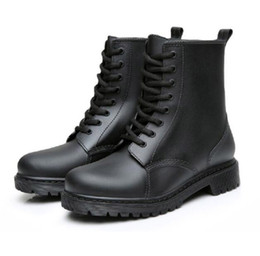 Wholesale Rubber Water Boots For Women - Black Rubber rain boots for women waterproof shoes woman water rubber lace up martin boots flat with shoes