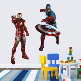 Wholesale Baby Boy Nursery Wall Decor - Boys Kids Marvel Avengers Iron Man Wall Stickers Decals Movie Hero Superman Adesivo Vinyl Wallpaper For Baby Home Bedroom Decor