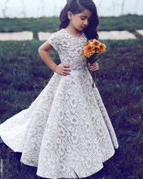 Wholesale Orange Sayings - Said Mhamad 2016 New Lace Floor Length Flower Girls Dresses Jewel Neck Short Sleeve First Communion Dresses Girls Pageant Gown Custom Made