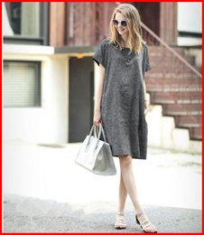 Wholesale Cheap Tshirt Dresses - Cotton dress 2016 Hot Selling Summer Vestidos High Quality Linen Pencil Dresses Tshirt-Style Dress Plus Size Grey Cheap Dress ouc007