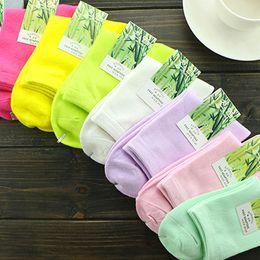 Wholesale Womens Bamboo Socks - 11 Colors Soft Bamboo Socks Woman Socks Leisure Fashion Socks Womens Girl Socks Women's Solid Color Cotton Socks B0817