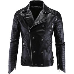 Wholesale Motorcycle Jacket Men Leather Slim - Men's Motorcycle PU leather jackets Slim Fit Black coat De Cuero Masculina Hombre Inverno Couro Casual Hippop Windbreaker Plus Size 5XL