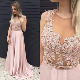 Wholesale Crystal Top Prom Dresses - Pink Pearls Beaded Prom Dresses 2017 Sexy Illusion Sheer Top With Lace Appliques Evening Gowns Chiffon A Line Formal Party Dresses
