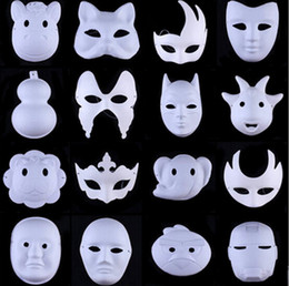 Wholesale Child Butterfly Masquerade Mask - DIY Mask Hand Painted Masquerade White Face Mask Zorro Crown Butterfly Blank Paper Mask Masquerade Party Masks