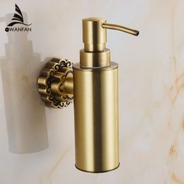 Wholesale Wall Mounted Hand Soap Dispensers - Wall Mounted Soap Dispenser Carving Antique Bronze Finish Brass Material Bathroom Accessories Liquid Soap Dispenser 10704F