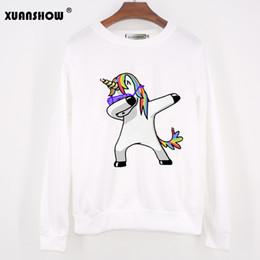Wholesale Sweatshirt Hoodies Funny - 2017 Autumn Winter Women Sweatshirts Long Sleeve O-Neck Tops Fashion Unicorn Printed Funny Hip Hop Fleece Hoodies Unicornio Emoji Clothing