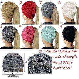 Wholesale Brown Tail - 2017 Autumn Winter Ponytail Caps Knitted Horsetail Women Knitted Beanie Fashion Girls Winter Warm Hat Back Hole Pony Tail with CC Labeling
