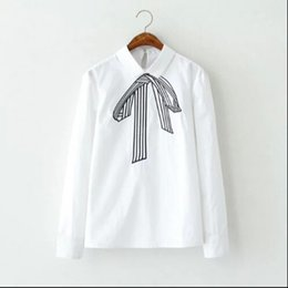Wholesale Bow Tie Shirts - Ladies Spring Fashion Women School Style Bow Tie Embroidery White Turn-down Collar Blouses Vintage Long Sleeve Shirts Casual