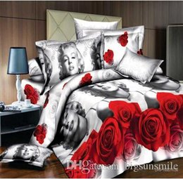 Wholesale Oil Painting Duvet Cover Flowers - Wholesale - Luxury 3d oil painting red flower bedding set queen king size 100%Cotton 4pcs comforter duvet covers bed sheet bedclothes set