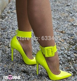 Wholesale Cotton Dresses For Women - Fluorescence yellow high heels pumps for women with big buckle 2015