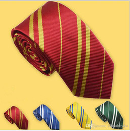 Wholesale Ravenclaw Tie - HOT Harry Potter Necktie 4 colors Gryffindo Ravenclaw Hufflepuff Slytherin College tie stripe ties Free DHL FedEx