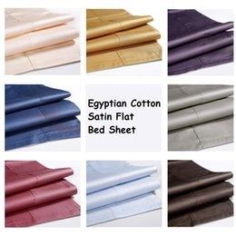 Wholesale Queen Sheets Brown - Wholesale Luxury Wrinkle Free Hotel Home Egyptian Cotton Satin Flat Bed Sheets Queen King Size Bed Sheet Plaid Sabanas Bed Linen Bedspread