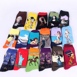Wholesale Famous Knitting - Sky cotton men socks famous socks Mona Lisa oil painting retro art men socks wholesale 18 color free shipping