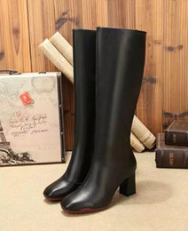 Wholesale Real Grains - Luxury Fashion Knee Boots For Womens Cow Real Leather Booties Ladies 7.5CM Chunky High Heels Motorcycle Boots Free Shipping SZ35-40