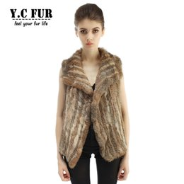 Wholesale Knit Vest Fur Collar - Wholesale-Hot Sales Waistcoats Female 6 Colors Knitted Real Rabbit Fur Vest With Collar Women's Vest Winter YC1097