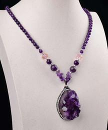 прекрасный красивый природный аметист кластера кулон агат Кристалл ожерелье специальный кристалл халинг Кристалл подарок(цвет: фиолетовый) от Поставщики сгруппированное ожерелье