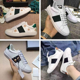 Wholesale White Ladies Cheap Shoes - Name Brand High Quality Embroidery Star Bee Woman Casual Shoes Fashion Designer Print Tiger White Cheap Sneaker Lady Show Shoes Original Box