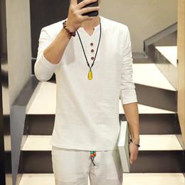 Wholesale Vintage Linen Clothing - Wholesale-Hot Summer New Chinese Kung Fu Vintage Style Men Shirt Men's V Neck Long Sleeve Linen Shirt Plus Size Mens Clothing 5XL