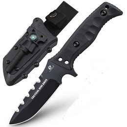 Wholesale Huge Tools - HX OUTDOORS tiger sharks Huge Tactical Knife D2 Blade G10 Handle Outdoor Survival Rescue Knife Military Utility EDC Tools Titanium coated su