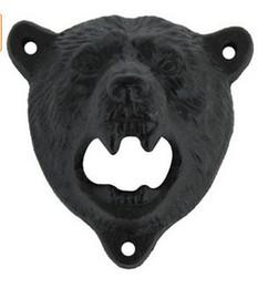 Wholesale Black Bear Wall - 1pcs cast iron bear shaped hang wall mounted bottle opener