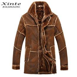Wholesale style men jacket fur - Wholesale-European Style Male Fashion Thick Warm Outwear Winter Mens Faux Fur Coat Spliced Suede Leather Jacket Parkas Fast Shipping