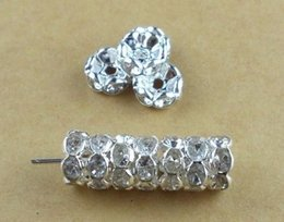 Wholesale 6mm Rhinestone Rondelle - Free Shipping 6MM White Color Crystal Spacer Metal Silver Plated Rondelle Rhinestone Loose Beads For Best DIY Jewelry Making u2212