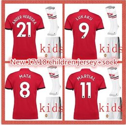 Wholesale Boys Dress Shorts - New children soccer dress 17 18 short-sleeved shirt print name number+coks 8 # MATA 6 # POGBA 10 # ROONEY Kkids clothes fast delivery