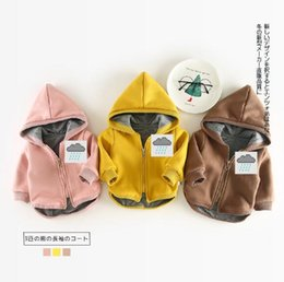 Wholesale Cartoon Boy Hood - 2017 INS kids autumn style cute Cartoon three cubs hooded warm boy girl autumn outwear think warm long sleeve coat free shipping