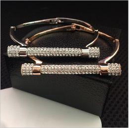 Wholesale Horseshoe Sets - 2017 Horseshoe Cuff Bracelets Sainless Steel Jewelry fashion 18K rose gold Luxury Glittering Zircon Diamond Pulseiras Femininas Bolt Bangle